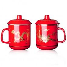 中国红瓷(高档龙凤对杯)