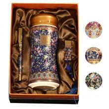 景泰蓝彩-会议三件套 陶瓷杯 U盘 笔