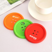 创意家居生活用品 圆形硅胶杯垫 可爱纽扣杯垫 隔热垫