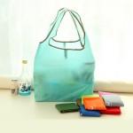 糖果色可折叠超市购物袋 便携环保手提袋 定制广告