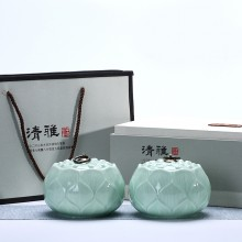 素雅茶叶礼盒莲花  清雅 青瓷罐 茶叶罐