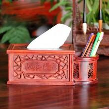 红木桌面摆件红木笔筒纸巾盒