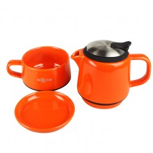 无铅陶瓷茶壶三件套