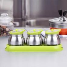 玻璃调味罐套装 调味料瓶罐盒厨房用品储物罐不锈钢304食品级