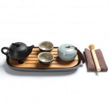 紫砂陶瓷旅行功夫茶具 一壶两杯 便携茶叶罐套装