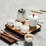 白瓷旅行茶具套装 商务茶具套装带茶盘
