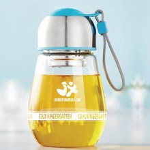 创意企鹅杯玻璃杯礼品定制广告促销杯子花茶随手杯定制LOGO