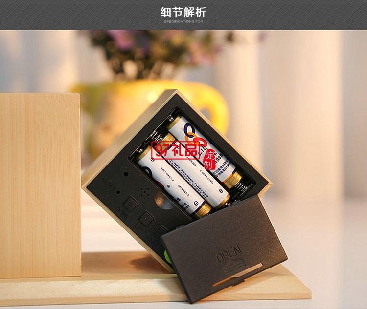 声控闹钟LED木钟创意笔筒时尚礼品中国银行定制可定制logo