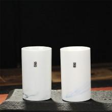 玉瓷对杯 简约直身陶瓷情侣对杯 创意茶杯