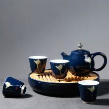 一壶四杯 霁蓝釉旅行茶具 功夫茶具套装