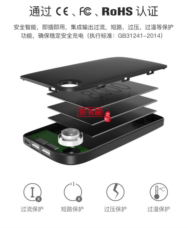 倍思 潮范 双输出移动电源 8000mAh苹果通用超薄快充智能充电宝