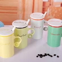 时尚水果色陶瓷杯 色釉把手陶瓷杯 可定制logo