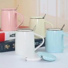 创意色釉陶瓷杯 带勺子带盖子马克杯 大容量早餐牛奶杯可印logo
