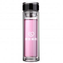 美欣制药时尚双层玻璃杯带盖滤网水杯高档礼品杯 直筒爆款杯 可印logo