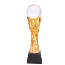 金色麦穗树脂奖杯 水晶球奖杯定做刻字