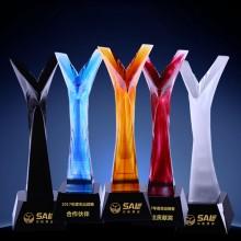 古法水晶琉璃奖杯定做企业年末颁奖