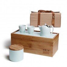 旅行茶具一壶两杯茶具套装 便携茶具 竹制陶瓷茶盘套装 可定制logo