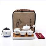 陶瓷旅行功夫茶具套装  车载户外便携茶盘茶壶青瓷茶具礼品
