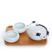 旅行茶具套装     便携功夫定窑陶瓷  快客杯一壶两杯