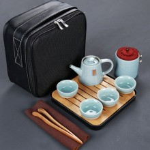 哥窑陶瓷茶具套装 便携式快客杯一壶4杯配旅行包