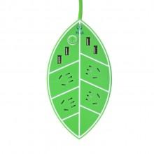 万达定制创意USB智能插排树叶拖线插座