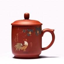 紫砂杯陶瓷茶杯全手工泥绘紫砂杯 把手杯礼品杯礼盒套装可定制logo
