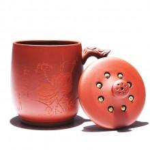 紫砂杯礼品茶具手工刻荷花莲子茶杯  手柄杯 复古杯 可定制logo