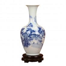 景德镇陶瓷器 青花山水美人尖花瓶 家居客厅装饰工艺品插花摆件