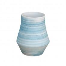 景德镇陶瓷花瓶套装 客厅摆件工艺品 蓝色螺纹陶瓷两件套花瓶摆件