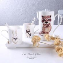 欧式卡通耐高温陶瓷茶具套装 咖啡托盘套装 可定制logo