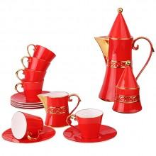 红色喜庆 红釉茶具15头咖啡壶 茶具套装  可定制logo
