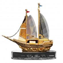一帆风顺合金工艺品摆件水晶船