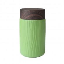 小皿随手杯陶瓷保温创意办公汽车带盖旅行便携木纹水杯