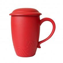 小皿马克杯陶瓷带盖带过滤网定制logo实用礼品