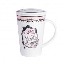 新款HELLO KITTY 卡通儿童杯子带盖 创意陶瓷杯