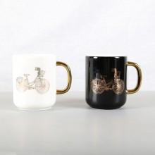 新款创意镀金陶瓷水杯子办公室情侣马克杯咖啡杯 礼品杯定制logo