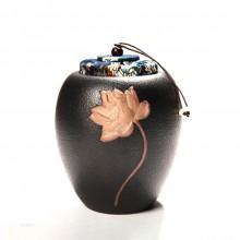 浮雕彩陶罐粗陶荷花茶叶罐可装糖果干果等多功能陶瓷密封罐礼盒装