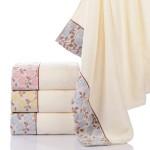 高档素色加厚柔软提花纯棉礼品浴巾 可定制LOGO