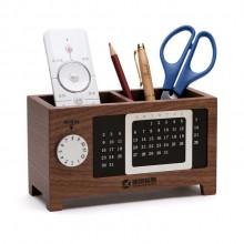 多功能木质创意万年历笔筒收纳盒 时尚文具  可定制LOGO