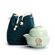 中国银行定制 功夫茶具便携式汝窑快客杯一壶一杯  可定制LOGO