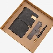商务木质笔记本笔书签套装