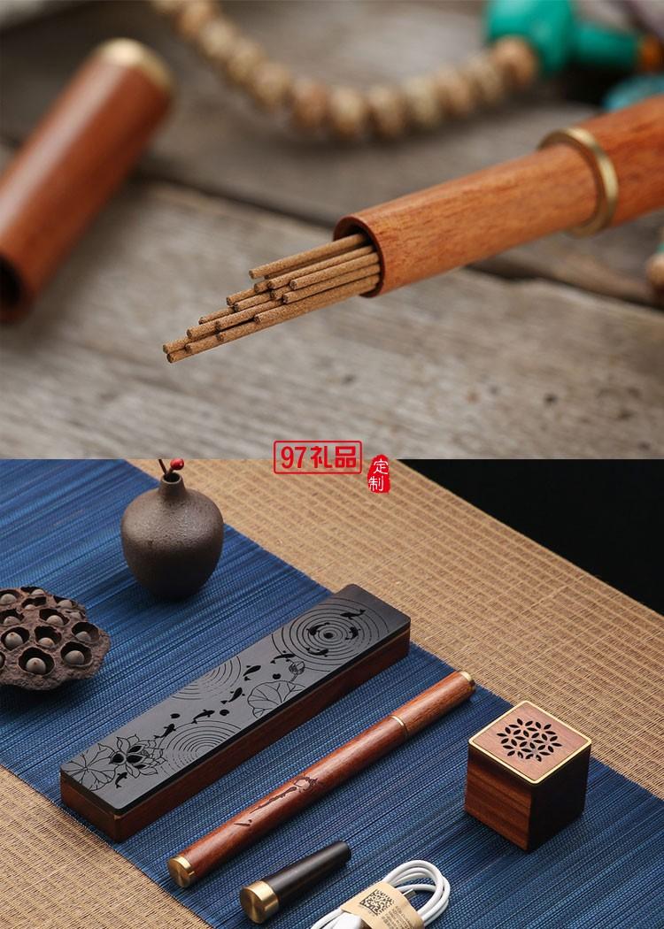 红木质线香卧香炉 小型铜木音响