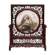中堂屏风酸枝木桌屏插屏嵌大理石台屏 红木雕刻工艺品家居摆件