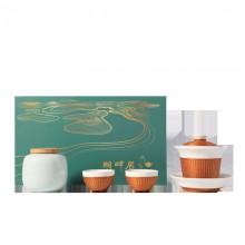 竹丝扣瓷瓷胎竹编手工制作青玉瓷一盖碗二杯一茶叶罐涤尘