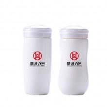 鼎瑞汤泉定制陶瓷双层保温杯创意带盖白瓷保温杯可定制画面logo伴手礼