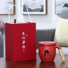 木柄茶水分离马克杯带盖带过滤网礼盒装