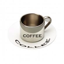 304不锈钢咖啡杯双层倒影杯套装