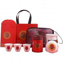 创意旅行茶具套装家用2020鼠年贺岁茶礼茶壶茶杯陶瓷便携式快客杯