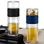 茶水分离杯创意双层玻璃杯商务泡茶杯可定制logo