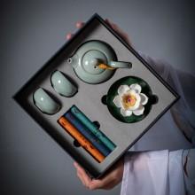 复古商务莲花茶具商务组合周年庆客户回馈员工福利礼品 可定制logo